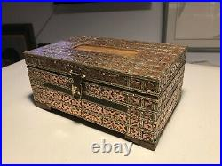 Vintage Hand Carved Wooden Keepsake/Jewelry Box with Inlaid Brass Leaves