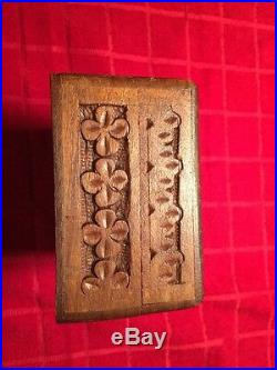 Vintage Handcarved Wooden Box. Amazing Detail, Great Hinges And Seals Very Nice