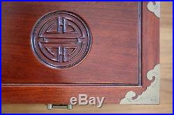 Vintage Handmade Chinese Rosewood Jewelry Chest Box with Drawers & Brass Hardware
