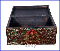 Vintage Handmade Embossed Hand Painted Wooden Decorative Jewelry Box Indian