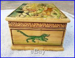 Vintage Handmade & Painted Jungle Hunting View Bone Fitted Wooden Jewellery Box