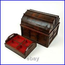 Vintage Handmade WOODEN Treasure Chest Jewelry Box Marquetry Inlaid Map OOAK