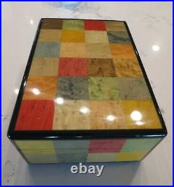 Vintage Hermes rare mosaic lacquer wooden box, jewelry, cigar, watch, Beautiful