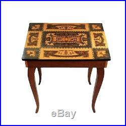 Vintage Inlaid Flip Top Wooden Jewelry Side End Table Cabriole Legs Music Box