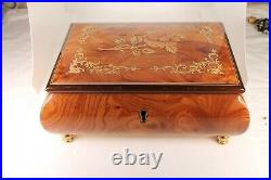 Vintage Italian Hand Crafted Inlaid Wooden Musical Jewelry Box with Key