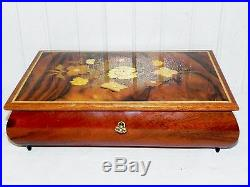 Vintage Italian Inlay Marquetry Inlay Wood Wooden Music Jewelry Box & Key Italy