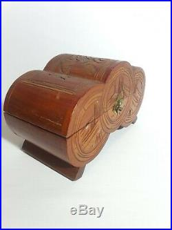 Vintage Japanese Hand Carved Made Wooden Jewellery Box
