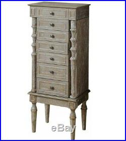 Vintage Jewelry Stand Armoire Oak Finish Chest Tall Storage Cabinet Stand Wooden