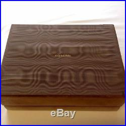 Vintage Large MAPPIN & WEBB Suede & Wood Jewellery Box Casket