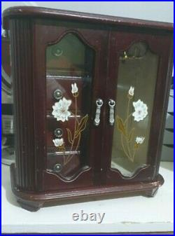 Vintage Large Musical Jewellery Wooden Box With Stained Windows and Mirror