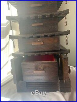 Vintage Large Wooden Japanese Pagoda Temple Jewelry Box Japan 5 Drawer