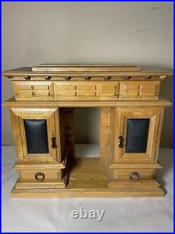 Vintage Large Wooden Jewelry Box Armoire 8 Drawer, Open Center. 13 Tall