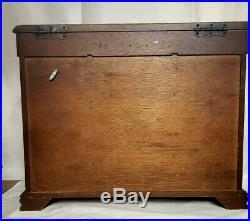 Vintage Large Wooden Musical Jewelry Box Approx 18 X 14.5 X 6.5