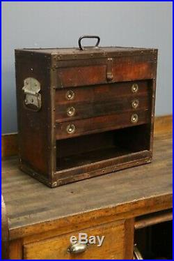 Vintage Machinist Tool Box 3 Wooden Drawers Side Handles Jewelry box wood chest