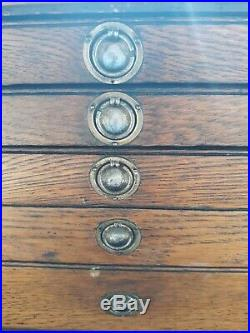 Vintage Machinist Tool Box Wooden Drawers Jewelry box wood chest