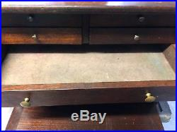 Vintage Machinists Wooden Tool Chest Box With Key /possible Jewelry Box
