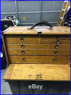 Vintage Machinists Wooden Tool Chest Box /possible Jewelry Box