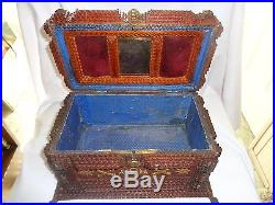 Vintage Military Tramp Art Jewelry Box With Blue Velvet