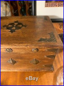 Vintage Old Box Wooden Brass Fitted Handcrafted BoxJewelryLetterHumidorValet