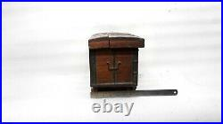 Vintage Old Hand Crafted Wooden Treasure Box On Wheel Trinket Jewelry Case MP