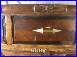 Vintage Old Miniature Chest Furniture Dresser Jewelry Box Inlay Inlaid Wooden