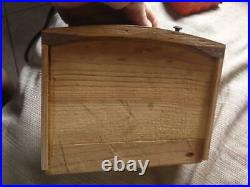 Vintage Old Miniature Chest Furniture Jewelry Box Hand Made Inlay Inlaid Wooden