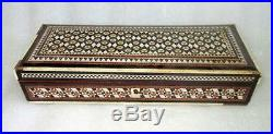 Vintage Old Rare Wooden Hand Crafted Unique Bone Inlay Work Royal Jewelry Box