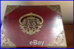 Vintage Oriental Chinese Wood Wooden Jewelry Box Brass And Ornate Carved Jade In