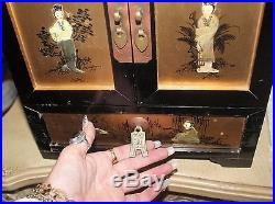 Vintage Oriental Jewelry Box Lacquer Mother of Pearl 5 Drawers, Brass Hardware