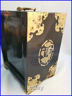 Vintage Oriental lacquered Jewellery Chest Brass Mother Of Pearl Wooden Box