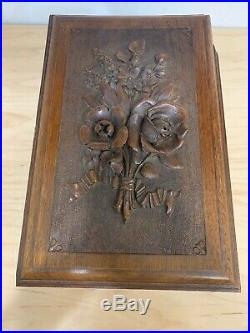 Vintage Ornate Hand Carved Hand Made Wooden Jewelry Chest Box