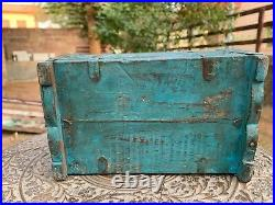 Vintage Rare Hand Painted Wooden Iron Fitted Collectible Jewellery Storage Box
