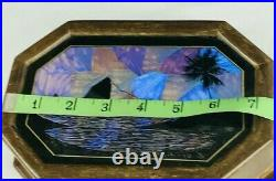 Vintage Real Butterfly Wing Trinket Jewelry Box wooden