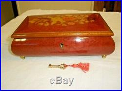 Vintage Reuge Musical Jewelry Box Wooden Swiss Made Movement Flowers