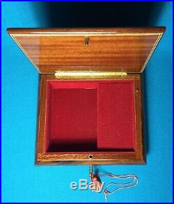 Vintage Reuge Wooden Jewelry Music Box Floral Flowers Made in Italy Key