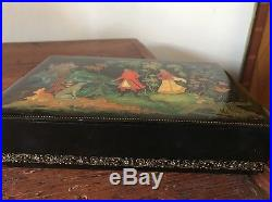 Vintage Russian 1968 Lacquer Hand Painted Wooden Jewelry Box Signed/numbered