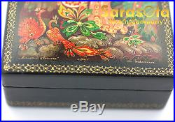 Vintage Russian Kholui Lacquer Hand Painted Wooden Jewelry Box Artist Signed