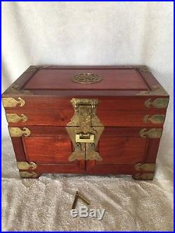 Vintage Solid Wood Jewelry Chest/Box with Hand-Tooled Brass Hasp/lock & Trim