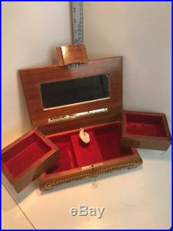 Vintage Swiss Reuge Dancing Ballerina Music Box Jewelry Wooden Case Wiyh The Key