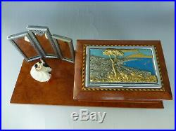 Vintage Swiss Reuge Dancing Ballerina Music Box Jewelry Wooden Case (see Video)