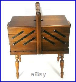 Vintage Walnut Hand Made Expandable Accordion Lift Top Wood Sewing Jewelry Box