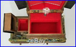 Vintage Wood Jewelry Music Box Wooden Cottage with Ballerina Made in Japan