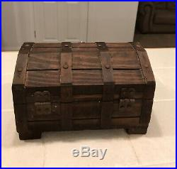 Vintage Wood Lion Head Treasure Chest Jewelry Box Tray 9 Wooden Gothic PIRATE