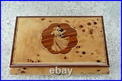 Vintage Wooden Burl Musical Sorrento Jewelry Box Made in Italy Dancing Couple