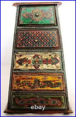 Vintage Wooden Chest Spice Drawer Emboss Painted Jewelry Box/ Spice Box
