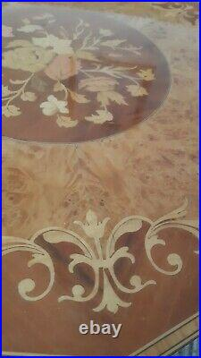 Vintage Wooden Inlaid Musical Sewing/Jewellery/Box Table