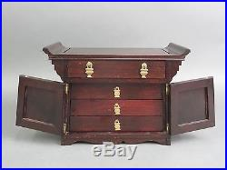Vintage Wooden Jewelry Box Chest with Drawers & Brass Hardware Oriental