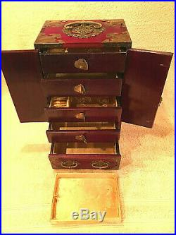 Vintage Wooden Jewelry Box with Brass Hardware and Inlays