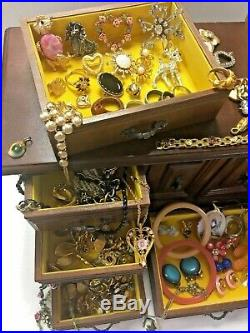 Vintage Wooden Jewelry Chest Box Full Lot Rings Necklace Bracelets Earrings Pins