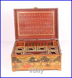 Vintage Wooden Jewelry Gift Box With Camel Bone Fitted Collectible 3849